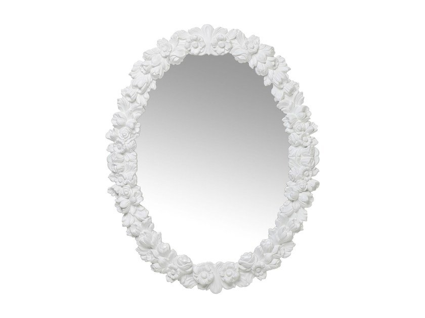 Oval wall-mounted framed mirror FIORELLINO WHITE by KARE-DESIGN