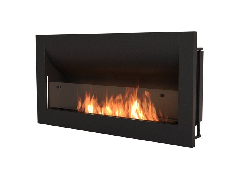 Built-in bioethanol steel fireplace with panoramic glass FIREBOX 1400CV by EcoSmart Fire