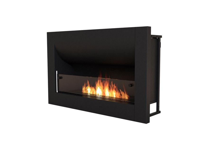 Built-in bioethanol steel fireplace with panoramic glass FIREBOX 920CV by EcoSmart Fire
