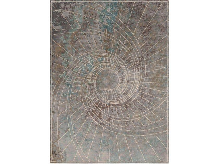 Handmade rectangular rug FIRENZE BLU NOTTE by Tapis Rouge