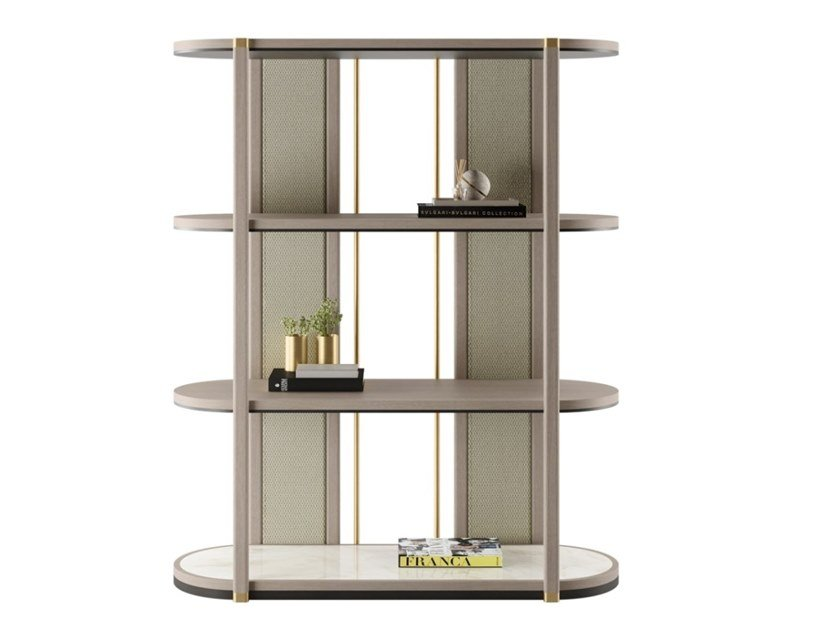 Open freestanding solid wood bookcase FIRENZE by FRATO