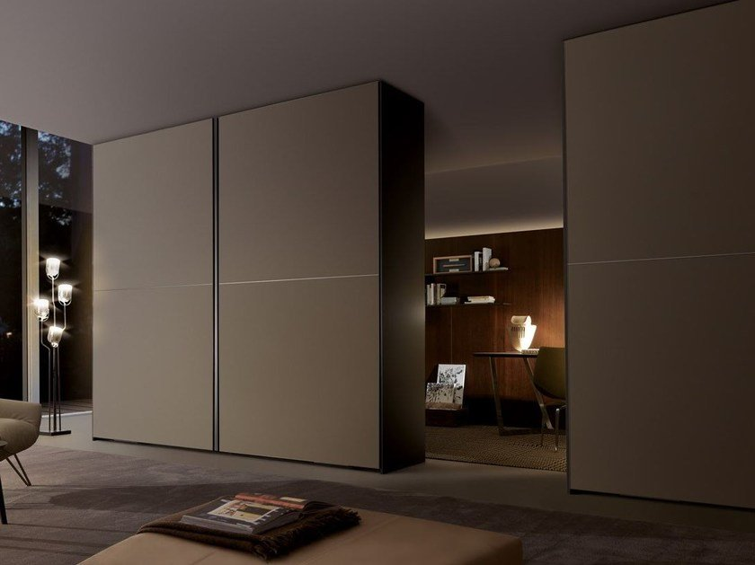 Etched glass wardrobe with coplanar doors FIRST | Wardrobe with coplanar doors by MisuraEmme