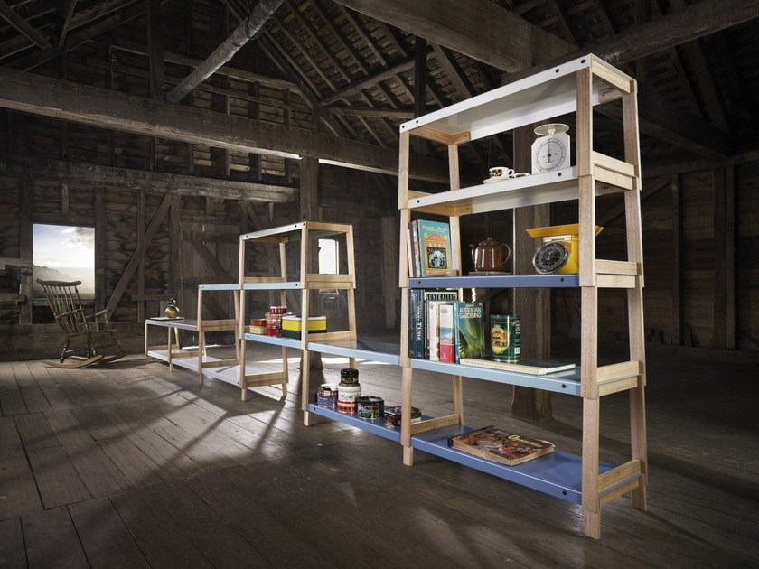 Open double-sided sectional oak bookcase FIT by Derlot Editions