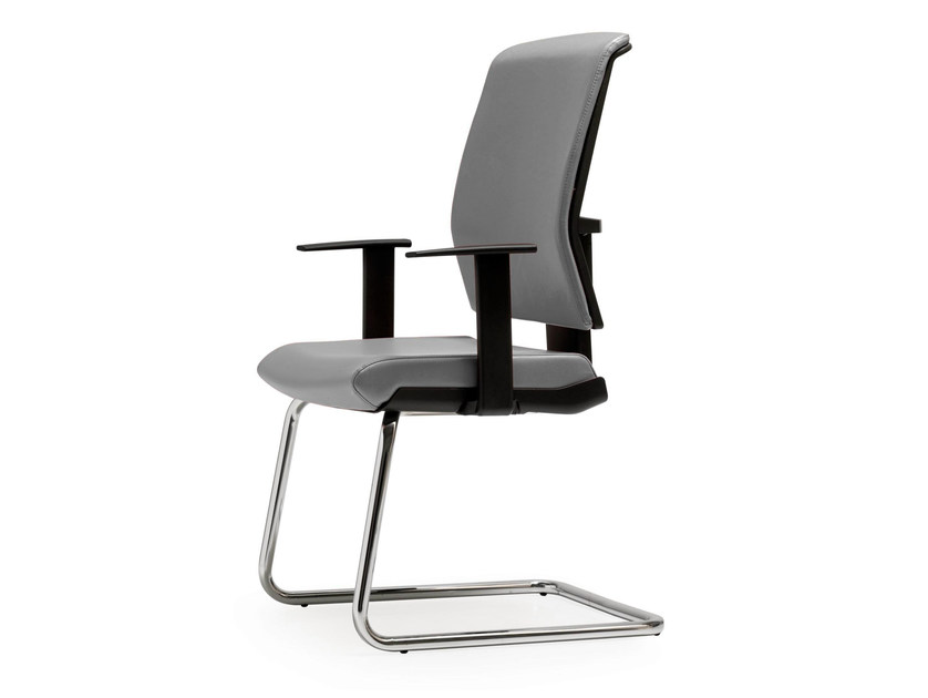 Cantilever leather reception chair with armrests FIVE   Chair with armrests by Quinti Sedute