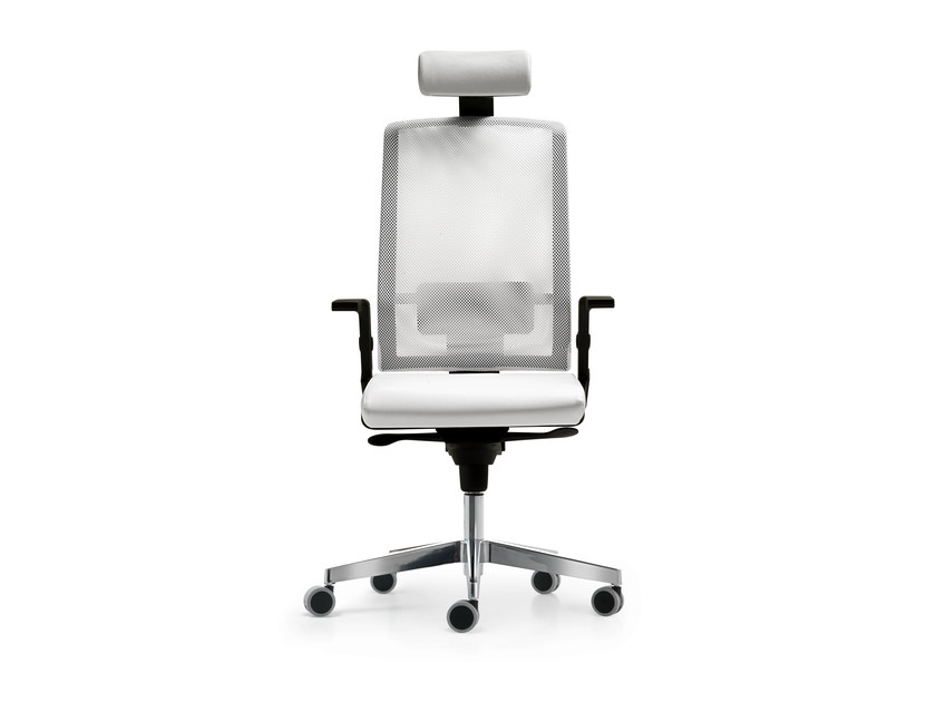 Height-adjustable mesh task chair with 5-Spoke base with armrests FIVE | Task chair with 5-Spoke base by Quinti Sedute