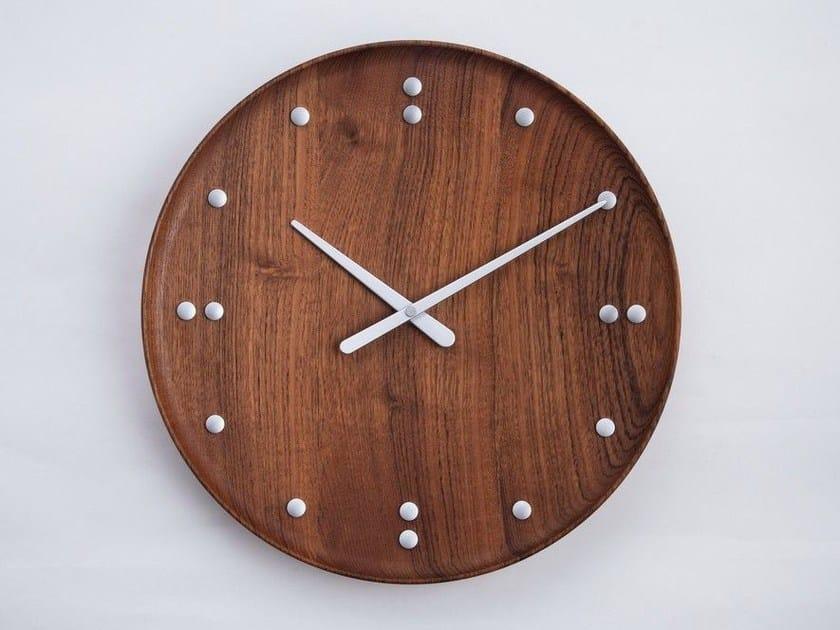Wall-mounted teak clock FJ CLOCK by Architectmade