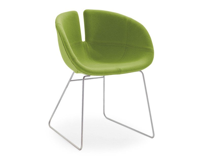 Sled base upholstered fabric chair FJORD | Fabric chair by Moroso