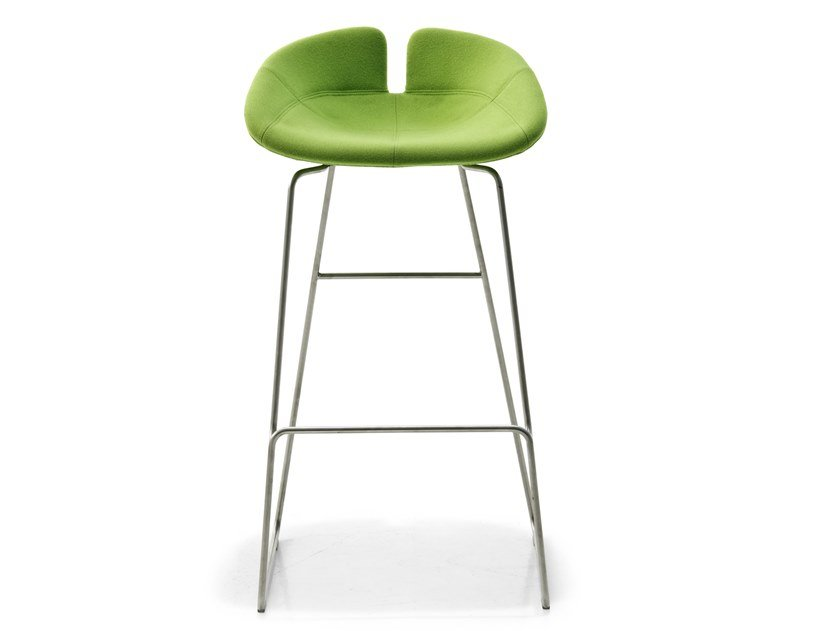 High sled base stool with footrest FJORD | Stool by Moroso