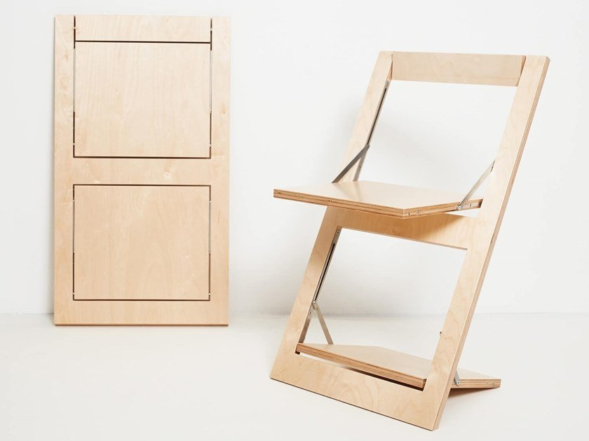 Sedia pieghevole in compensato FLÄPPS FOLDING CHAIR - BIRCH by AMBIVALENZ