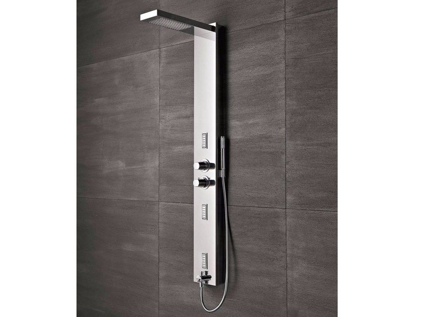 Wall-mounted stainless steel shower panel FLAIR by Glass1989