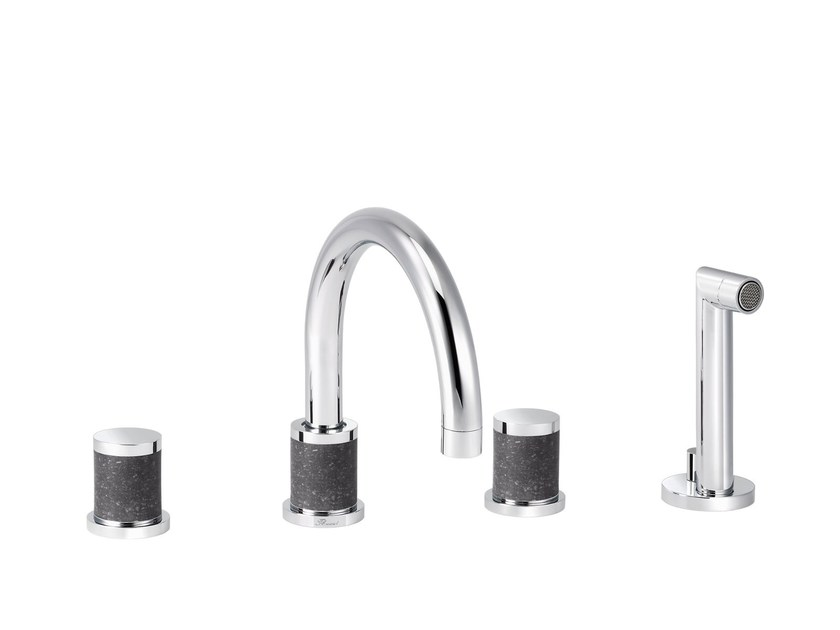 4 hole bathtub set with hand shower FLAMANT DOCKS | 4 hole bathtub tap by rvb