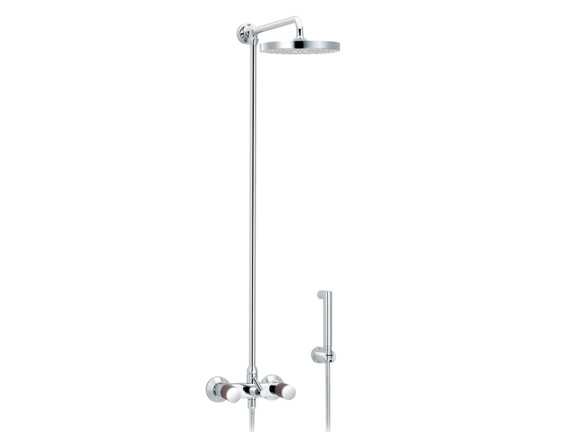 Wall-mounted shower panel with hand shower with overhead shower FLAMANT DOCKS | Wall-mounted shower panel by rvb
