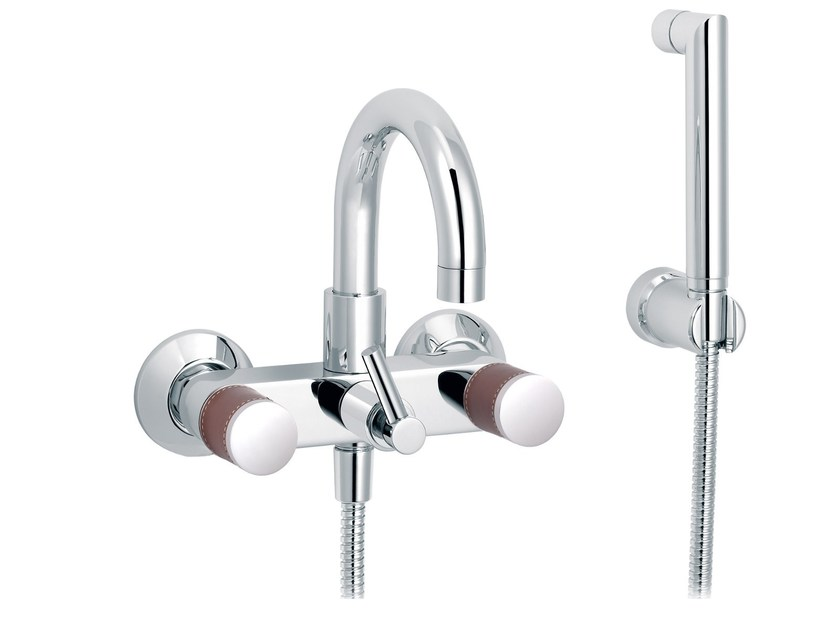 2 hole wall-mounted bathtub mixer with hand shower FLAMANT DOCKS | Wall-mounted bathtub mixer by rvb