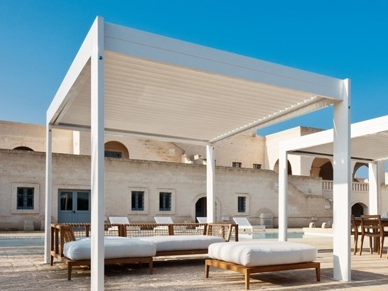 Pergola with adjustable louvers FLAP 45 by Frigerio Living