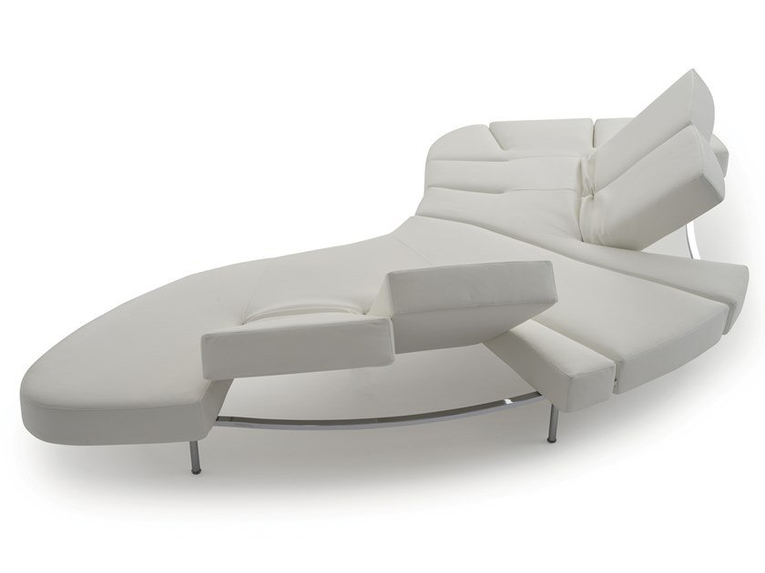 Curved recliner leather sofa FLAP by edra