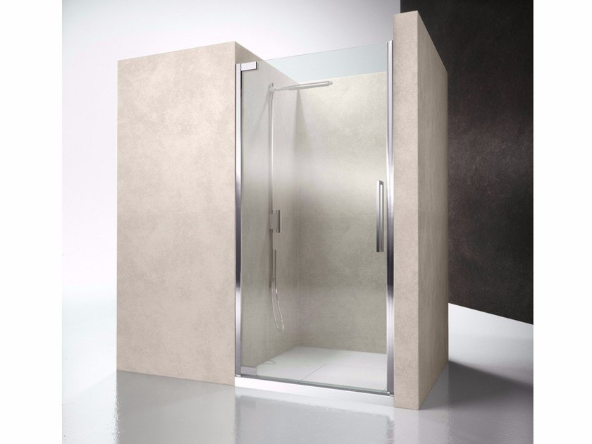 Niche glass shower cabin with hinged door FLARE FN by VISMARAVETRO