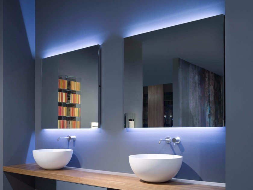 Wall-mounted bathroom mirror with integrated lighting FILA By ...