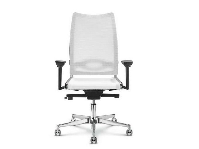 Height-adjustable mesh task chair with 5-Spoke base with armrests FLASH | Task chair with 5-Spoke base by Diemme