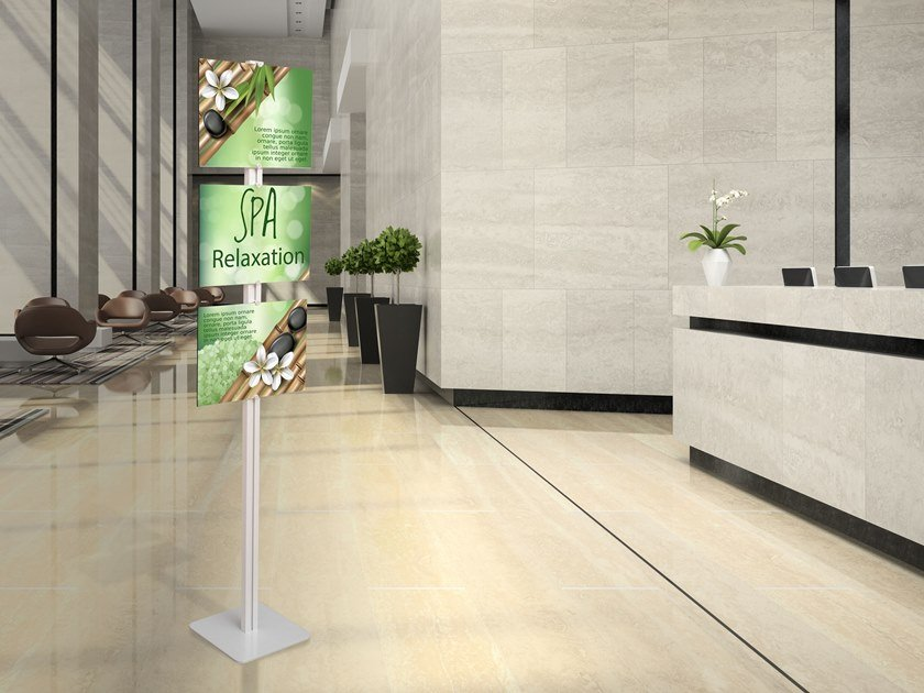Floor-standing aluminium display unit FLAT FLOOR A3 by STUDIO T