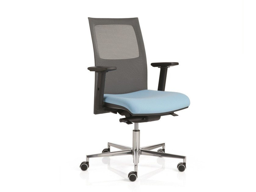 Task chair with 5-Spoke base with armrests FLAT01 | Task chair by Emmegi