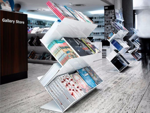 Freestanding double-sided steel bookcase FLATLINER FREESTAND by Derlot Editions