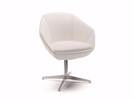 Swivel fabric easy chair with 4-spoke base with armrests FLEUR | Swivel easy chair by Cizeta