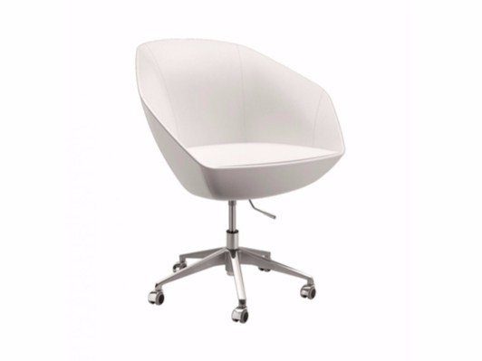 Swivel fabric easy chair with 5-spoke base with casters FLEUR | Easy chair with casters by Cizeta L'Abbate