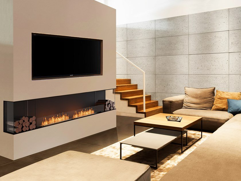Bioethanol steel Fireplace insert with Panoramic Glass FLEX 122BY BX2 by EcoSmart Fire