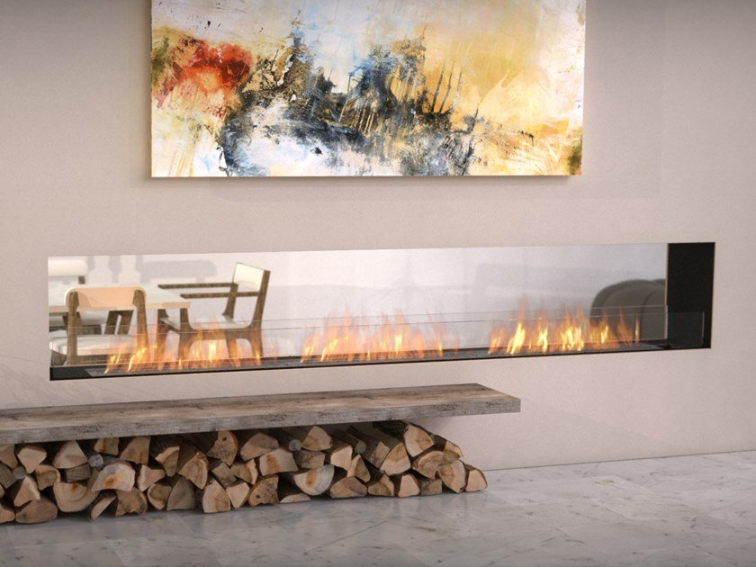 Bioethanol Double-sided steel Fireplace insert with Panoramic Glass FLEX 122DB by EcoSmart Fire
