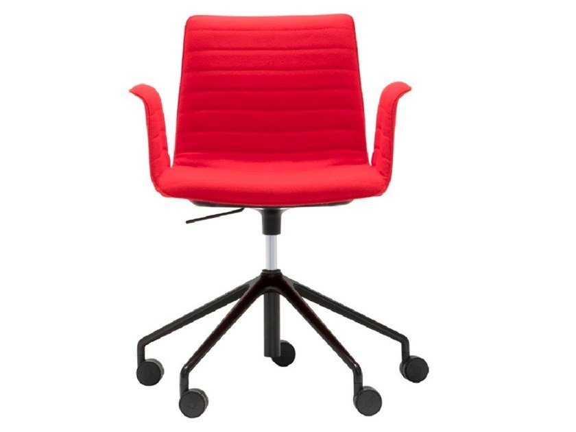 Swivel task chair with 5-Spoke base with castors FLEX ARMCHAIR SO1661 by Andreu World