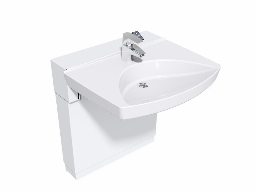 Height-adjustable washbasin for disabled with electric motion Washbasin FLEX-IN by Ropox