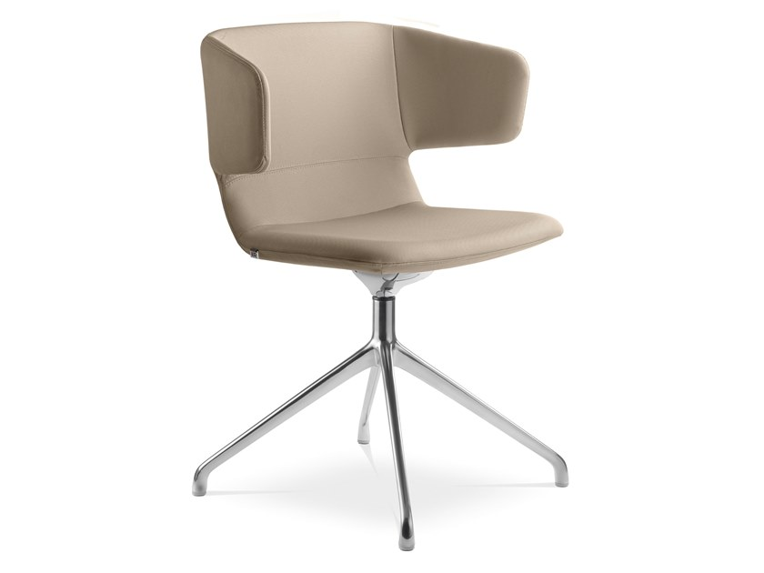 Upholstered trestle-based fabric chair FLEXI P-F20-N6 by LD Seating