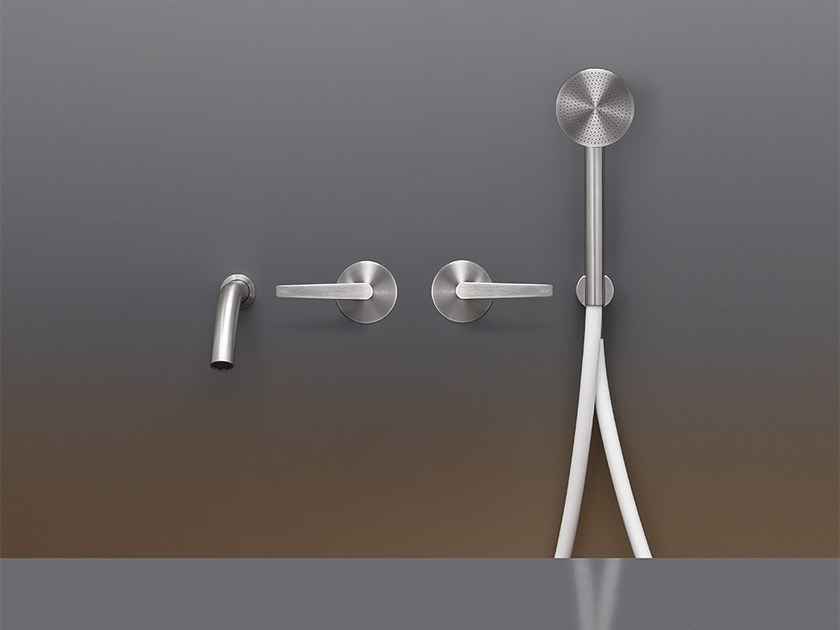 Wall-mounted hydroprogressive stainless steel bathtub tap with hand shower FLG 23Y by Ceadesign