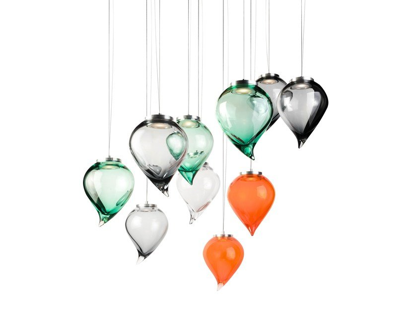 Murano glass pendant lamp FLIK by Purho