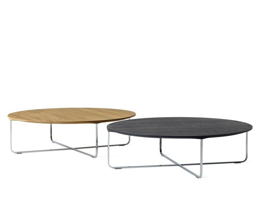 Low oval wooden coffee table FLINT by Montis