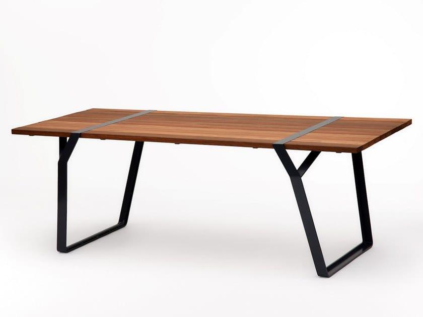 Tavolo rettangolare in acciaio e legno FLINT   Tavolo by Ross Gardam
