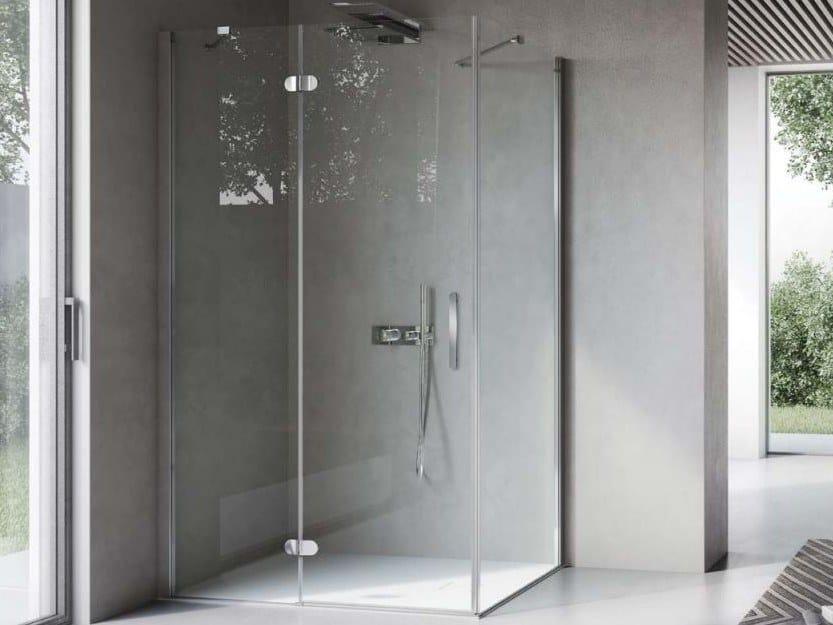 Rectangular shower cabin with hinged door FLIPPER FLPO+FLFI by DISENIA