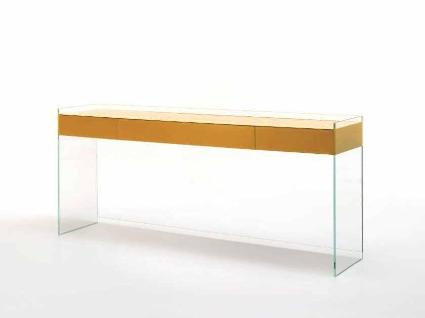 Rectangular crystal console table with drawers FLOAT | Console table by Glas Italia