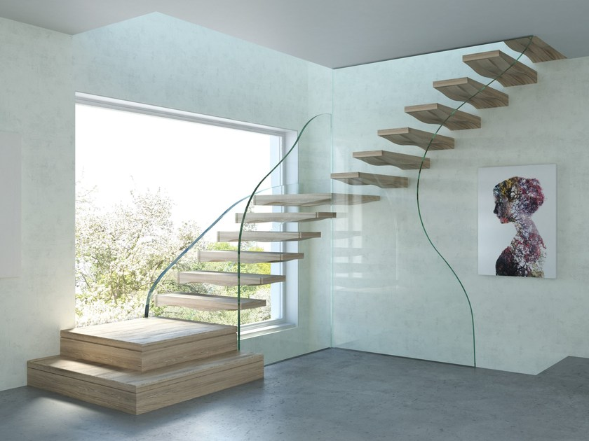 Self supporting wood and glass cantilevered staircase FLOATING WAVES | Cantilevered staircase by Siller Treppen