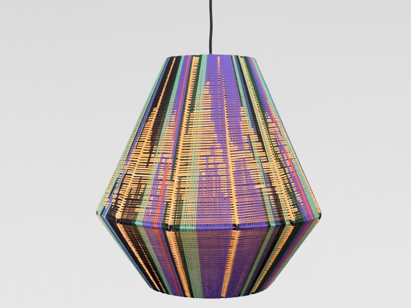 Suspension lamp handmade in cotton and leather FLOR | Pendant lamp by Thea Kuta