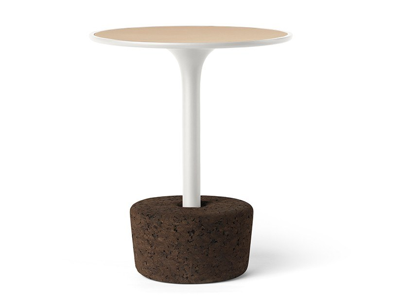 Round wood veneer coffee table FLORA SMALL TALL by DAM