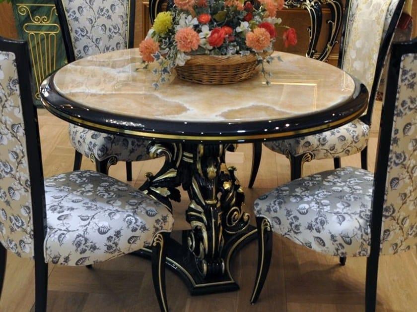 Tavolo rotondo in legno e onice FLORAL BASE by Arnaboldi Interiors