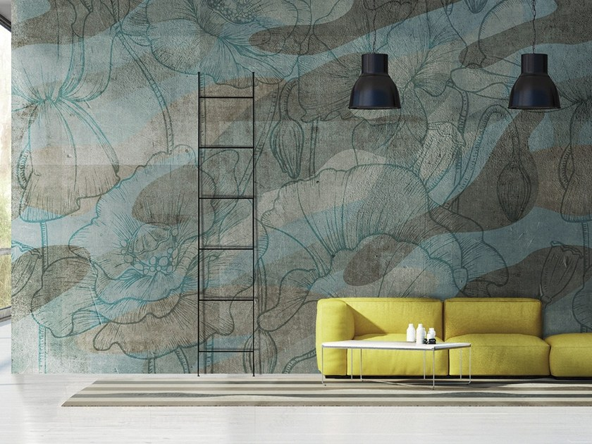 Vinyl or fyber glass wallpaper FLORAL CAMOUFLAGE by N.O.W. Edizioni