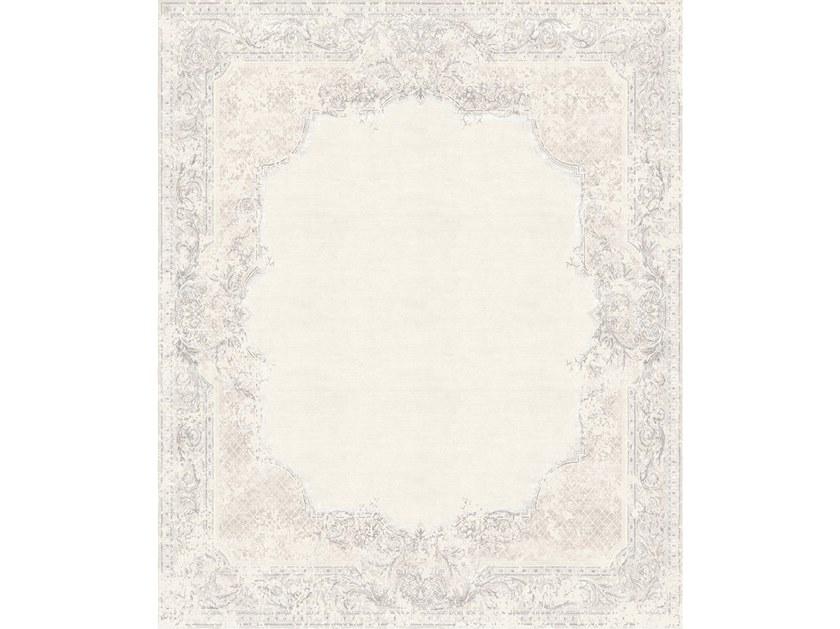 Handmade rectangular rug FLORAL VINTAGE GREY by Tapis Rouge