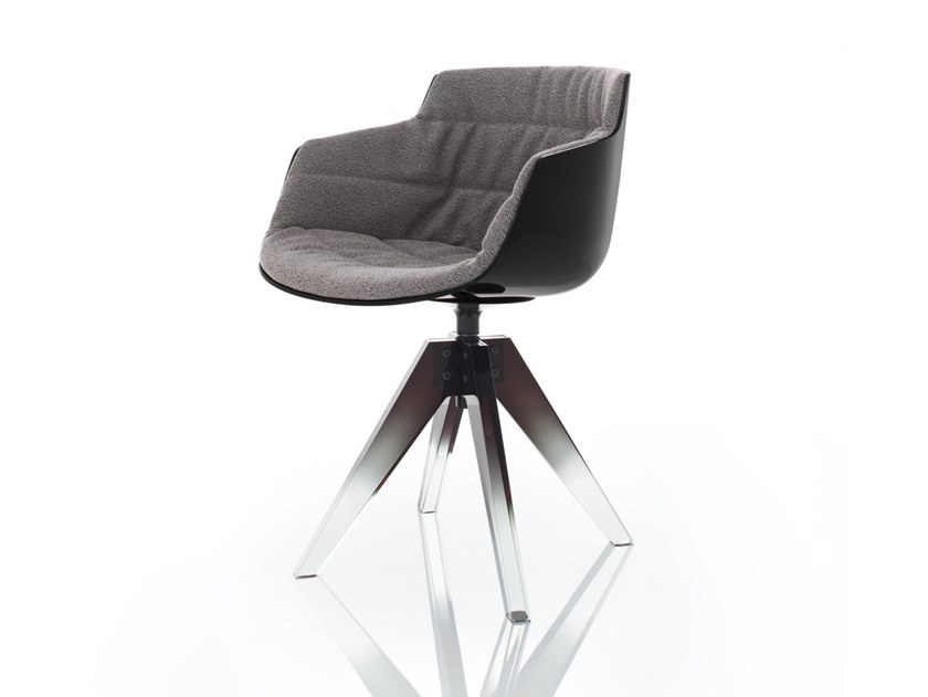 Upholstered trestle-based polycarbonate chair with armrests FLOW 10TH by MDF Italia