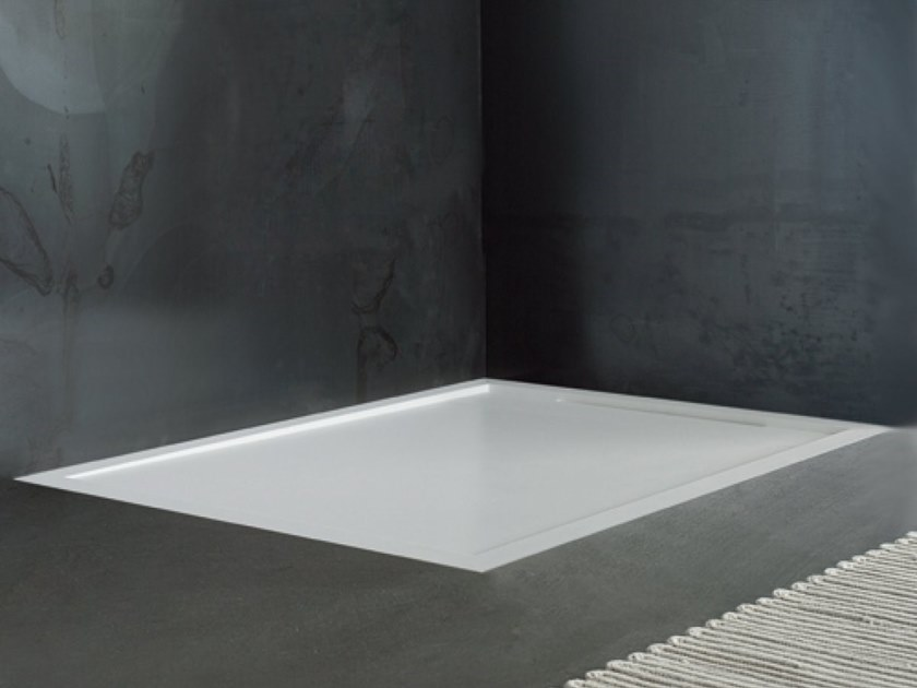 Built-in custom Solid Surface shower tray FLOW | Built-in shower tray by Blu Bleu