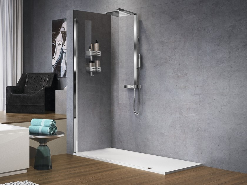 Wall-mounted chromed brass shower panel FLOW by NOVELLINI