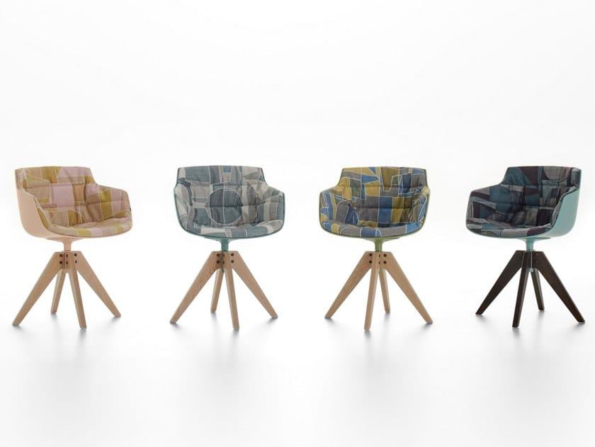 Sedia in policarbonato con braccioli FLOW SLIM COLOR | Sedia su trespolo by MDF Italia