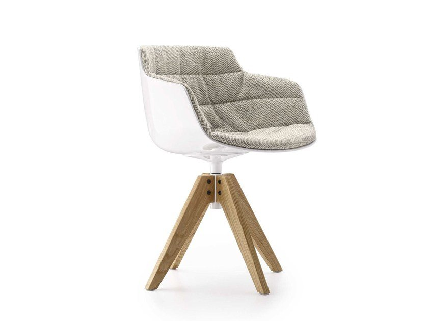 Swivel trestle-based fabric chair with armrests FLOW SLIM | Swivel chair by MDF Italia