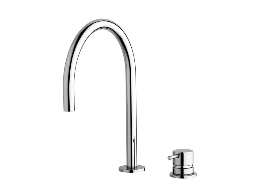 Chromed brass washbasin tap FLOW T1.14+T1.B1.12U | Washbasin tap by Water Evolution
